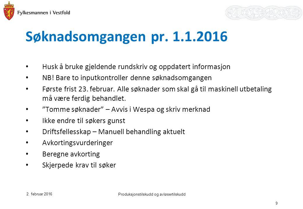Søknadsomgangen pr. 1.1.2016 2.