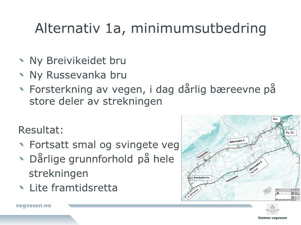 Alternativ 1a, minimumsutbedring Ny Breivikeidet bru Ny Russevanka bru Forsterkning av vegen, i dag dårlig bæreevne på store deler av strekningen Resultat: Fortsatt smal og svingete veg Dårlige grunnforhold på hele strekningen Lite framtidsretta