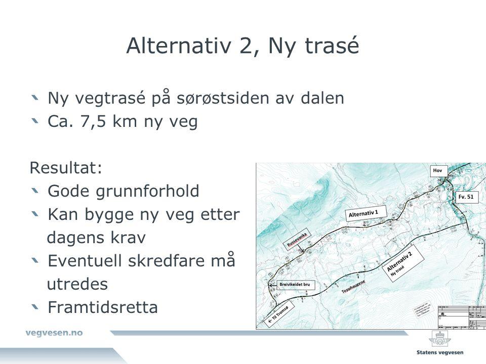Alternativ 2, Ny trasé Ny vegtrasé på sørøstsiden av dalen Ca.