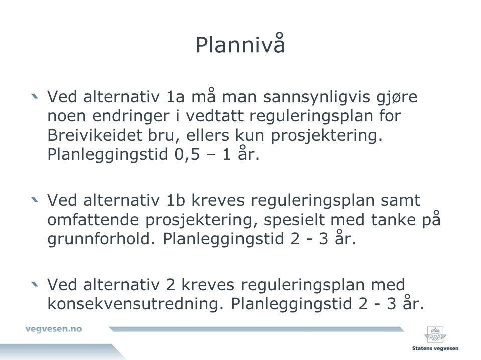 Plannivå Ved alternativ 1a må man sannsynligvis gjøre noen endringer i vedtatt reguleringsplan for Breivikeidet bru, ellers kun prosjektering.