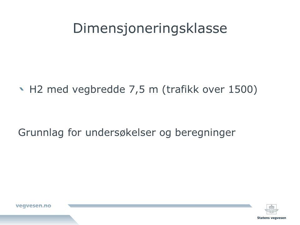 Dimensjoneringsklasse H2 med vegbredde 7,5 m (trafikk over 1500) Grunnlag for undersøkelser og beregninger