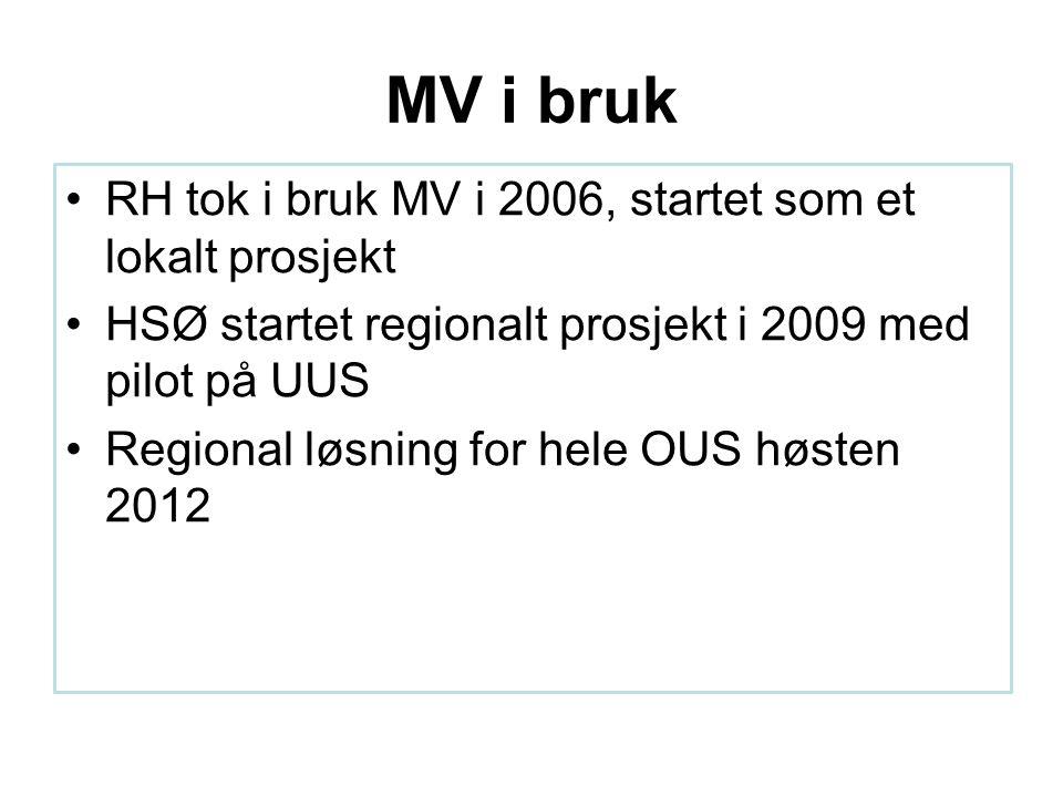 MV i bruk RH tok i bruk MV i 2006, startet som et lokalt prosjekt HSØ startet regionalt prosjekt i 2009 med pilot på UUS Regional løsning for hele OUS høsten 2012