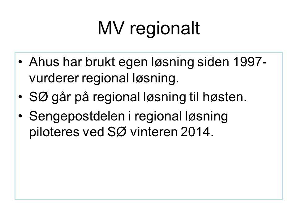 MV regionalt Ahus har brukt egen løsning siden 1997- vurderer regional løsning.