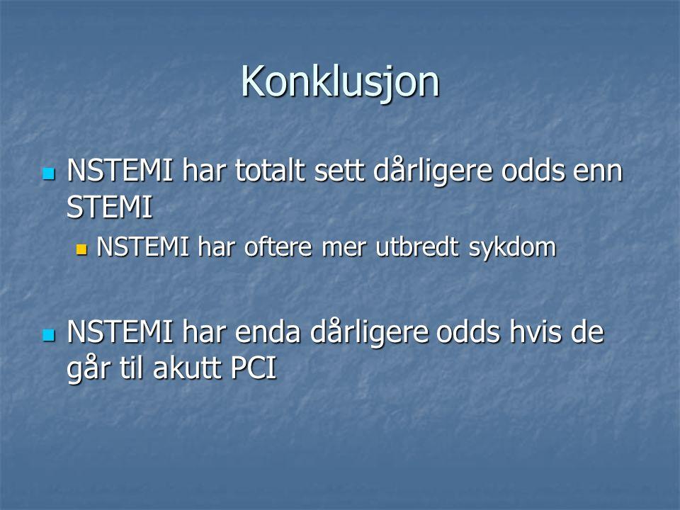 Konklusjon NSTEMI har totalt sett dårligere odds enn STEMI NSTEMI har totalt sett dårligere odds enn STEMI NSTEMI har oftere mer utbredt sykdom NSTEMI har oftere mer utbredt sykdom NSTEMI har enda dårligere odds hvis de går til akutt PCI NSTEMI har enda dårligere odds hvis de går til akutt PCI