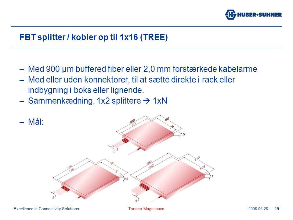 Excellence in Connectivity Solutions 2008.05.28Torsten Magnussen19 FBT splitter / kobler op til 1x16 (TREE) –Med 900 µm buffered fiber eller 2,0 mm forstærkede kabelarme –Med eller uden konnektorer, til at sætte direkte i rack eller indbygning i boks eller lignende.
