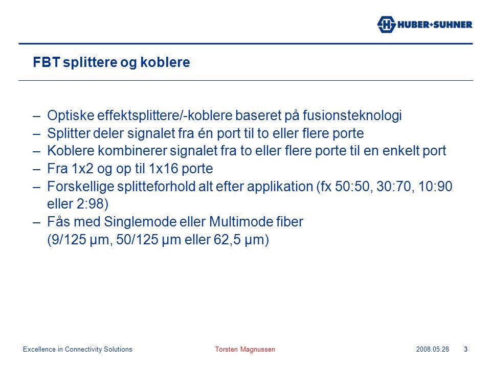 Excellence in Connectivity Solutions 2008.05.28Torsten Magnussen3 FBT splittere og koblere –Optiske effektsplittere/-koblere baseret på fusionsteknolo