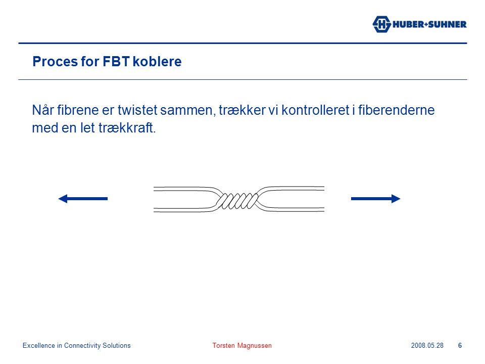 Excellence in Connectivity Solutions 2008.05.28Torsten Magnussen6 Proces for FBT koblere Når fibrene er twistet sammen, trækker vi kontrolleret i fiberenderne med en let trækkraft.