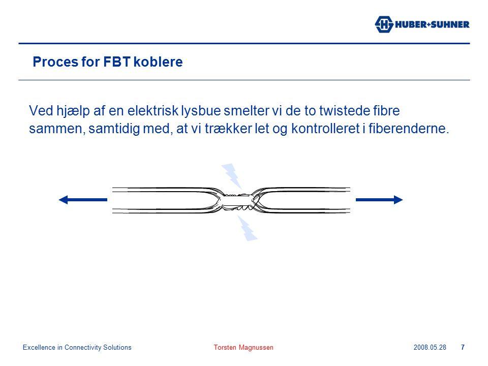 Excellence in Connectivity Solutions 2008.05.28Torsten Magnussen7 Proces for FBT koblere Ved hjælp af en elektrisk lysbue smelter vi de to twistede fibre sammen, samtidig med, at vi trækker let og kontrolleret i fiberenderne.