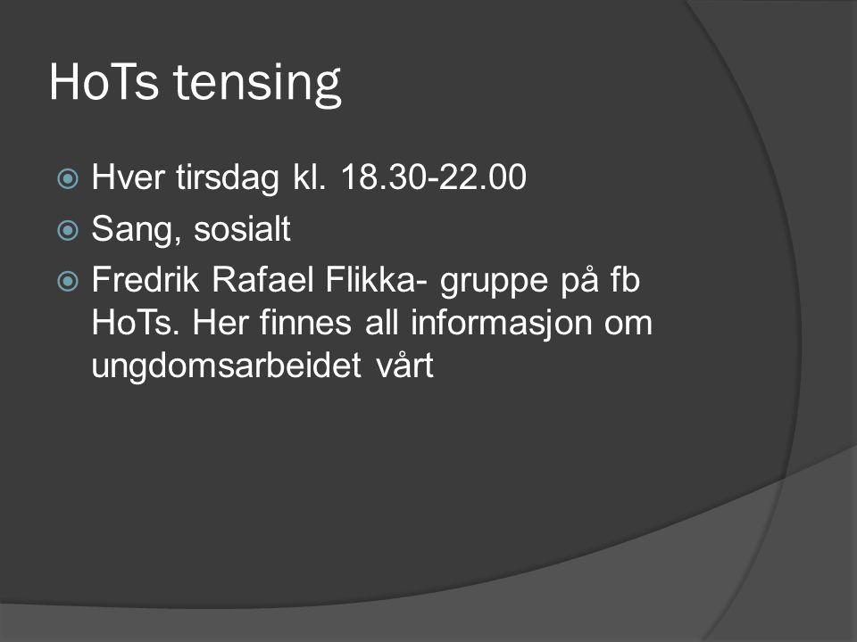 HoTs tensing  Hver tirsdag kl. 18.30-22.00  Sang, sosialt  Fredrik Rafael Flikka- gruppe på fb HoTs. Her finnes all informasjon om ungdomsarbeidet