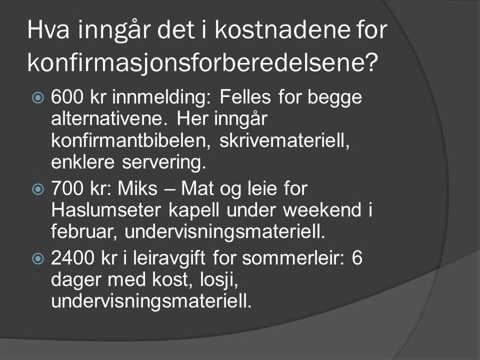 MIKS-KONFIRMANT  Deltar på egne samlinger med konfirmanter fra hele Bærum.