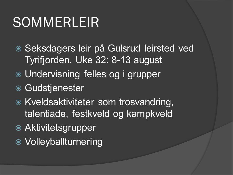 SOMMERLEIR  Seksdagers leir på Gulsrud leirsted ved Tyrifjorden. Uke 32: 8-13 august  Undervisning felles og i grupper  Gudstjenester  Kveldsaktiv