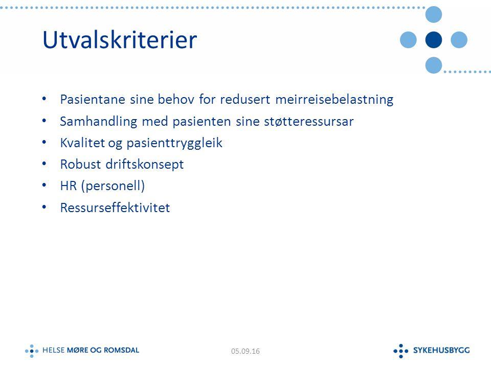 Utvalskriterier Pasientane sine behov for redusert meirreisebelastning Samhandling med pasienten sine støtteressursar Kvalitet og pasienttryggleik Robust driftskonsept HR (personell) Ressurseffektivitet 05.09.16