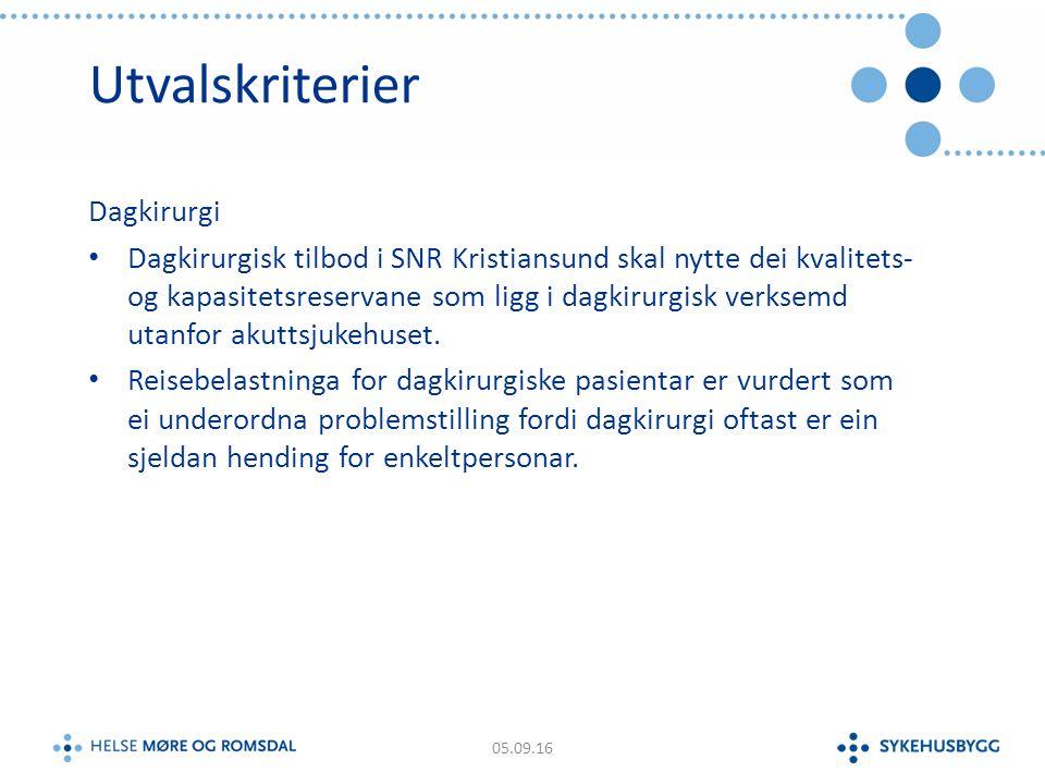 Utvalskriterier Dagkirurgi Dagkirurgisk tilbod i SNR Kristiansund skal nytte dei kvalitets- og kapasitetsreservane som ligg i dagkirurgisk verksemd utanfor akuttsjukehuset.