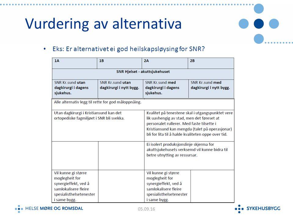 Vurdering av alternativa 05.09.16 Eks: Er alternativet ei god heilskapsløysing for SNR