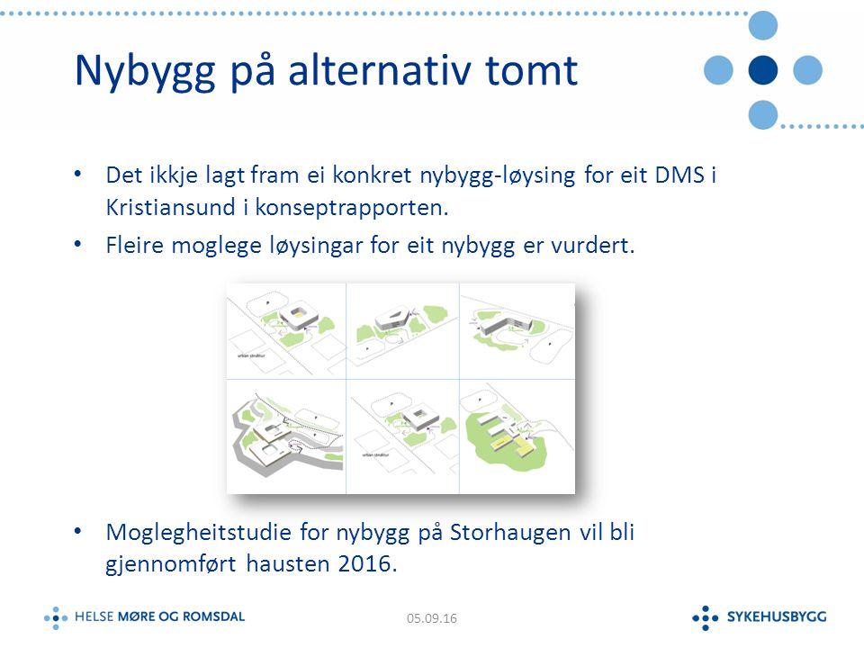 Nybygg på alternativ tomt Det ikkje lagt fram ei konkret nybygg-løysing for eit DMS i Kristiansund i konseptrapporten.