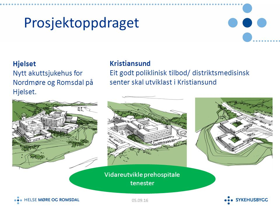 Prosjektoppdraget 05.09.16 Kristiansund Eit godt poliklinisk tilbod/ distriktsmedisinsk senter skal utviklast i Kristiansund Hjelset Nytt akuttsjukehus for Nordmøre og Romsdal på Hjelset.