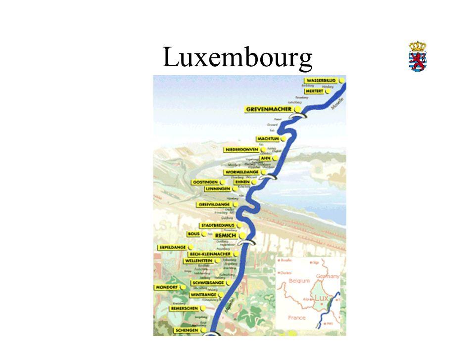 Luxembourg 1400 ha, noe som er 1 % av jordbruksland I 1964 fantes det 1700 vingårder I 1994 fantes det 788 vingårder Druetyper : Rivaner, Pinot Blanc, Pinot Gris, Auxerrois, Riesling, Gewürztraminer og Pinot Noir Vingårdene ligger i nærheten av elven Moselle (som skifter kjønn når den går inn i Tyskland) AC Moselle Luxembourgoise er en 42 km lang stripe i landets sørøstlige flanke.