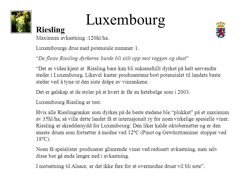 Luxembourg Riesling Maximum avkastning :120hl/ha. Luxembourgs drue med potensiale nummer 1.