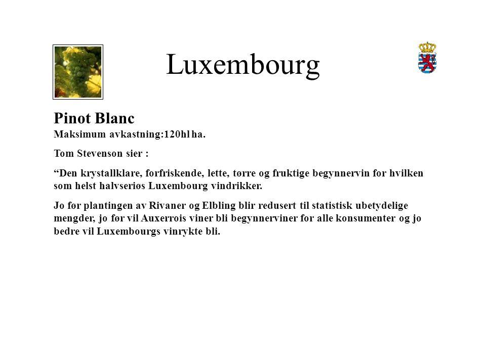 Luxembourg Pinot Blanc Maksimum avkastning:120hl ha.