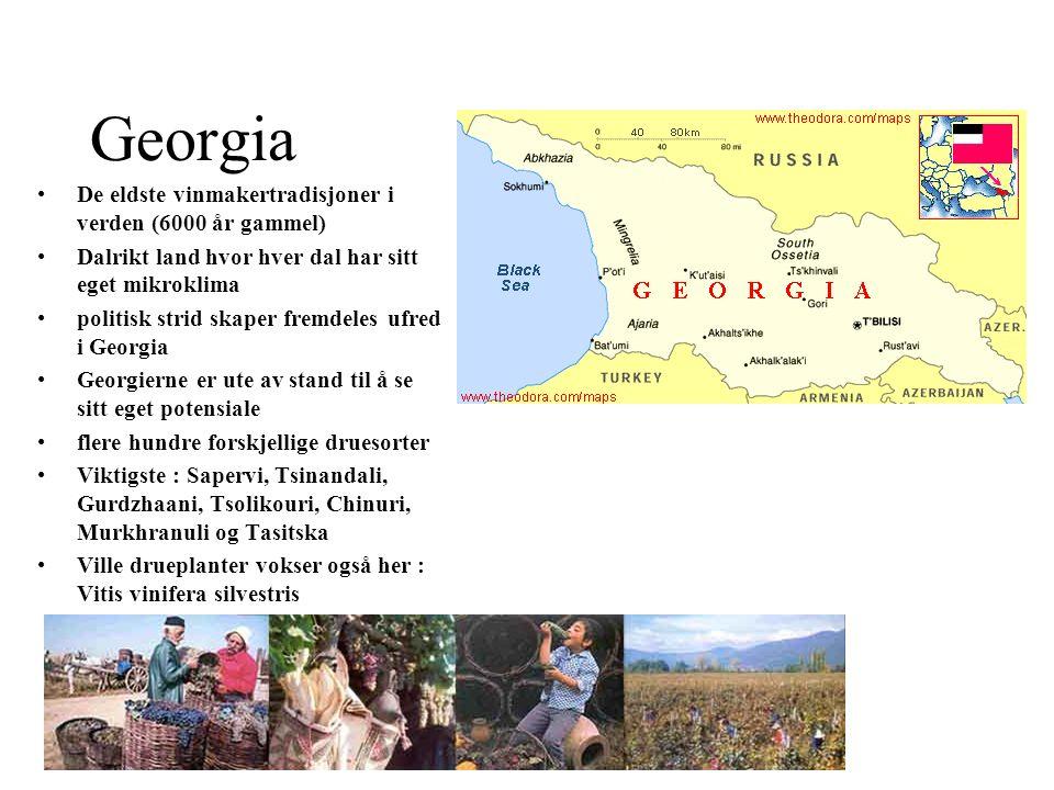 Georgia De eldste vinmakertradisjoner i verden (6000 år gammel) Dalrikt land hvor hver dal har sitt eget mikroklima politisk strid skaper fremdeles uf