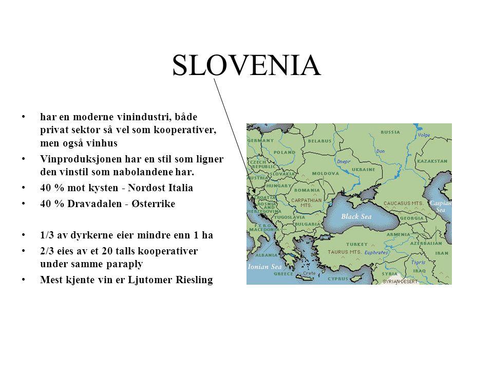 SLOVENIA har en moderne vinindustri, både privat sektor så vel som kooperativer, men også vinhus Vinproduksjonen har en stil som ligner den vinstil so