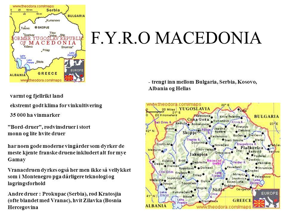 F.Y.R.O MACEDONIA - trengt inn mellom Bulgaria, Serbia, Kosovo, Albania og Hellas varmt og fjellrikt land ekstremt godt klima for vinkultivering 35 00