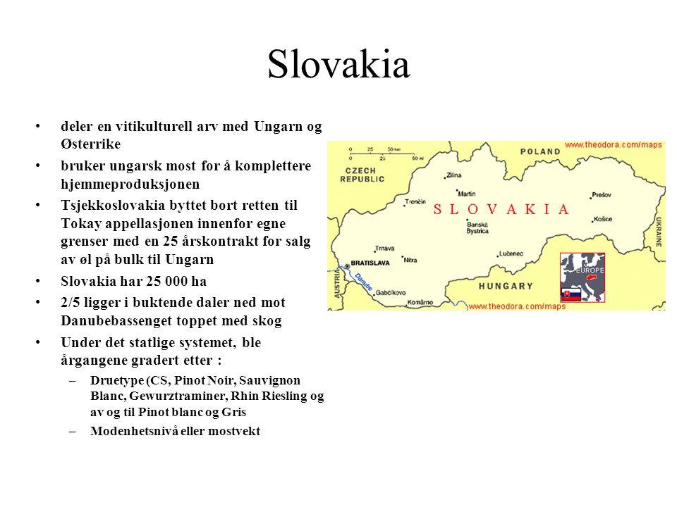 Slovakia deler en vitikulturell arv med Ungarn og Østerrike bruker ungarsk most for å komplettere hjemmeproduksjonen Tsjekkoslovakia byttet bort rette