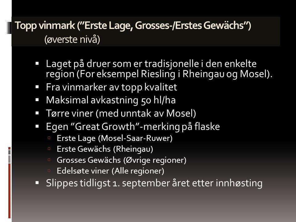 Nyeste modell fremsatt av VDP (organisasjon av tyske vinbønder) Kategoriserer vin etter opprinnelse og øker stadig i anseelse. Region f.eks. Rheingau
