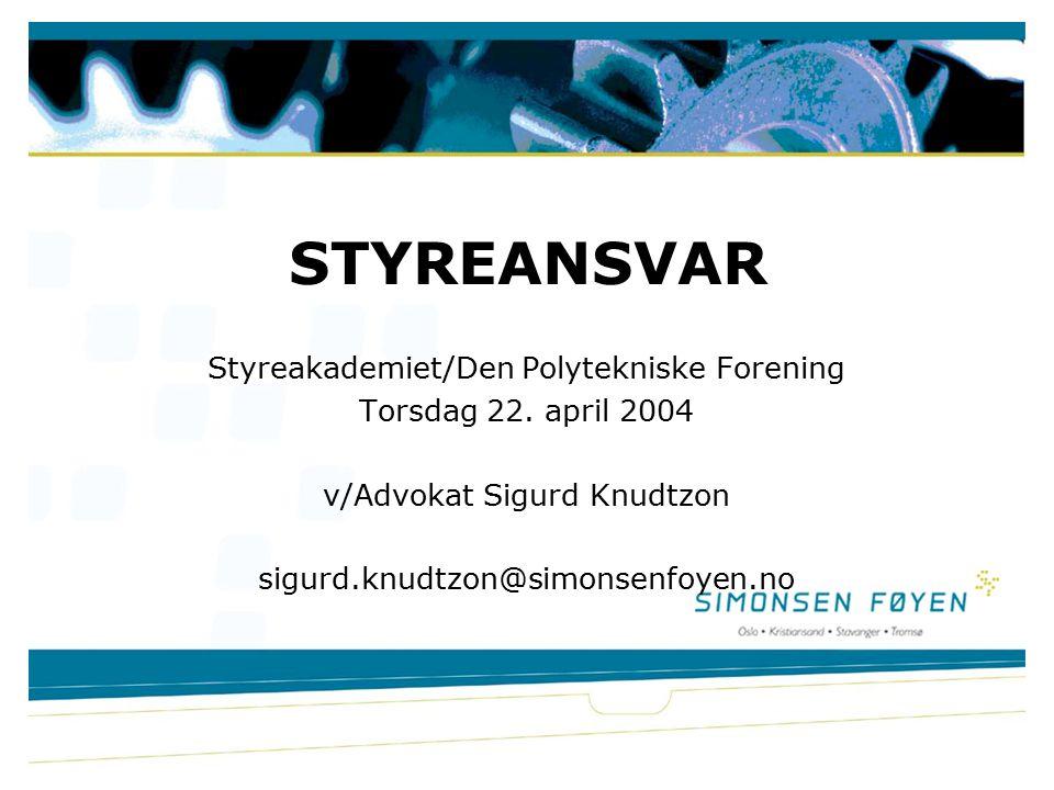 Styreakademiet/Den Polytekniske Forening Torsdag 22.
