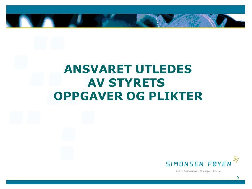 9 ANSVARET UTLEDES AV STYRETS OPPGAVER OG PLIKTER