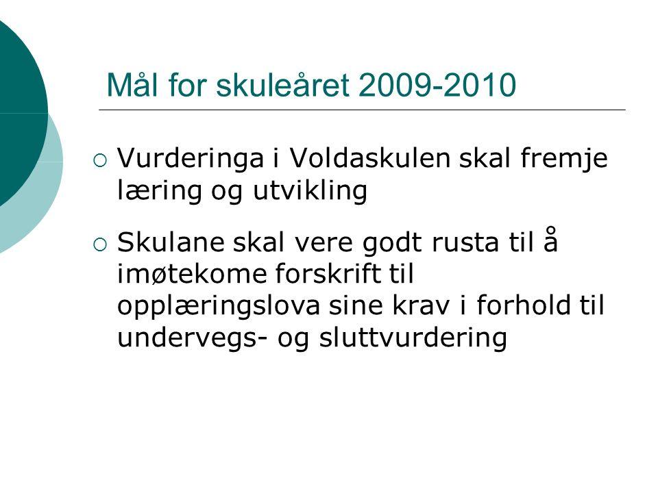 Mål for skuleåret 2009-2010  Vurderinga i Voldaskulen skal fremje læring og utvikling  Skulane skal vere godt rusta til å imøtekome forskrift til opplæringslova sine krav i forhold til undervegs- og sluttvurdering