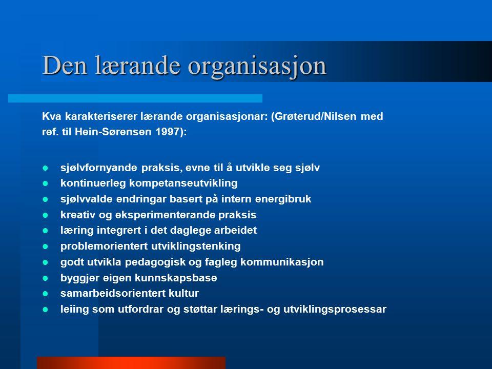 Den lærande organisasjon Kva karakteriserer lærande organisasjonar: (Grøterud/Nilsen med ref. til Hein-Sørensen 1997): sjølvfornyande praksis, evne ti