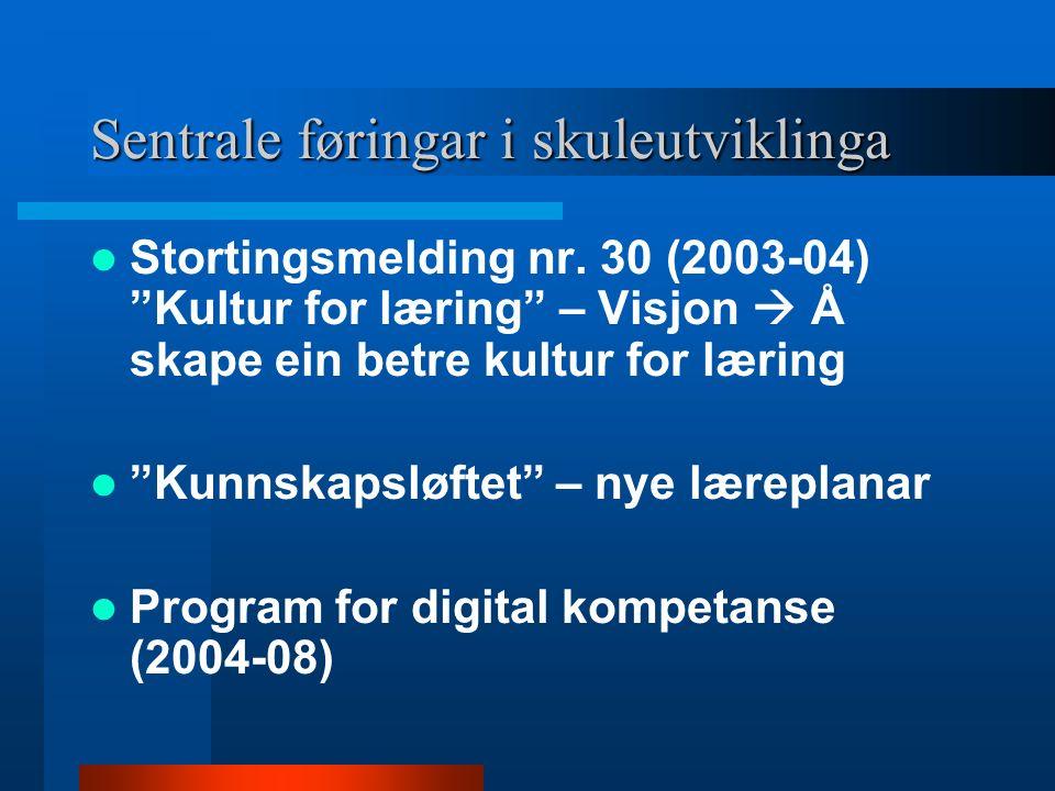 """Sentrale føringar i skuleutviklinga Stortingsmelding nr. 30 (2003-04) """"Kultur for læring"""" – Visjon  Å skape ein betre kultur for læring """"Kunnskapsløf"""