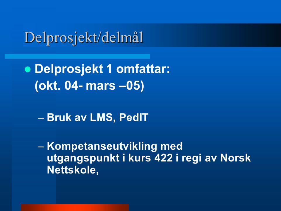 Delprosjekt/delmål Delprosjekt 1 omfattar: (okt. 04- mars –05) –Bruk av LMS, PedIT –Kompetanseutvikling med utgangspunkt i kurs 422 i regi av Norsk Ne