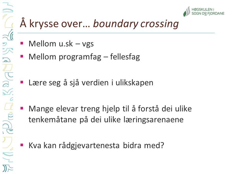 Å krysse over… boundary crossing  Mellom u.sk – vgs  Mellom programfag – fellesfag  Lære seg å sjå verdien i ulikskapen  Mange elevar treng hjelp