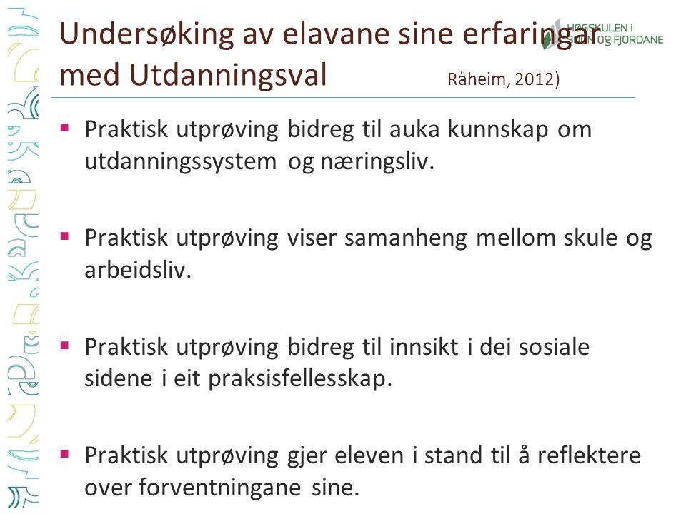 Undersøking av elavane sine erfaringar med Utdanningsval Råheim, 2012)  Praktisk utprøving bidreg til auka kunnskap om utdanningssystem og næringsliv