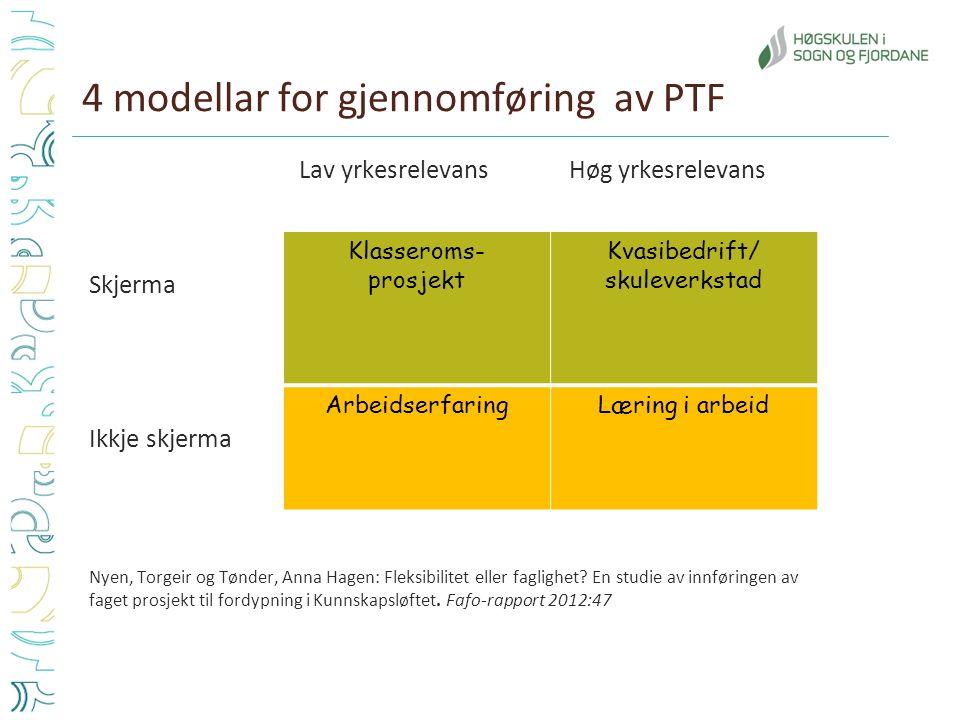 4 modellar for gjennomføring av PTF Lav yrkesrelevansHøg yrkesrelevans Skjerma Ikkje skjerma Nyen, Torgeir og Tønder, Anna Hagen: Fleksibilitet eller