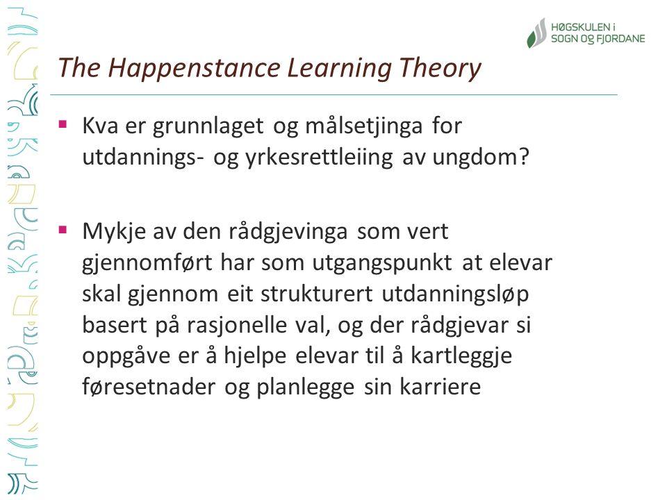The Happenstance Learning Theory  Kva er grunnlaget og målsetjinga for utdannings- og yrkesrettleiing av ungdom?  Mykje av den rådgjevinga som vert