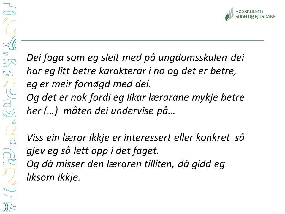 4 modellar for gjennomføring av PTF Lav yrkesrelevansHøg yrkesrelevans Skjerma Ikkje skjerma Nyen, Torgeir og Tønder, Anna Hagen: Fleksibilitet eller faglighet.