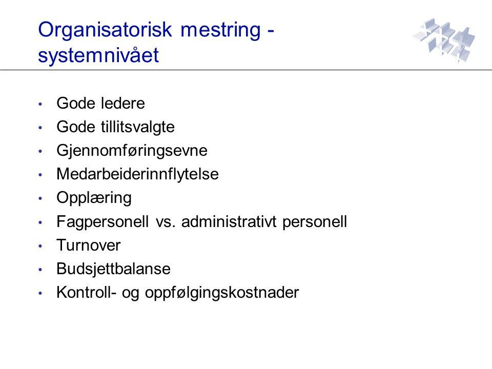 Organisatorisk mestring - systemnivået Gode ledere Gode tillitsvalgte Gjennomføringsevne Medarbeiderinnflytelse Opplæring Fagpersonell vs.