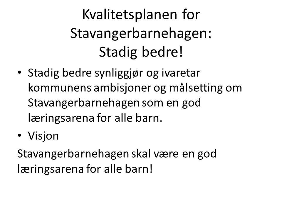 Kvalitetsplanen for Stavangerbarnehagen: Stadig bedre.