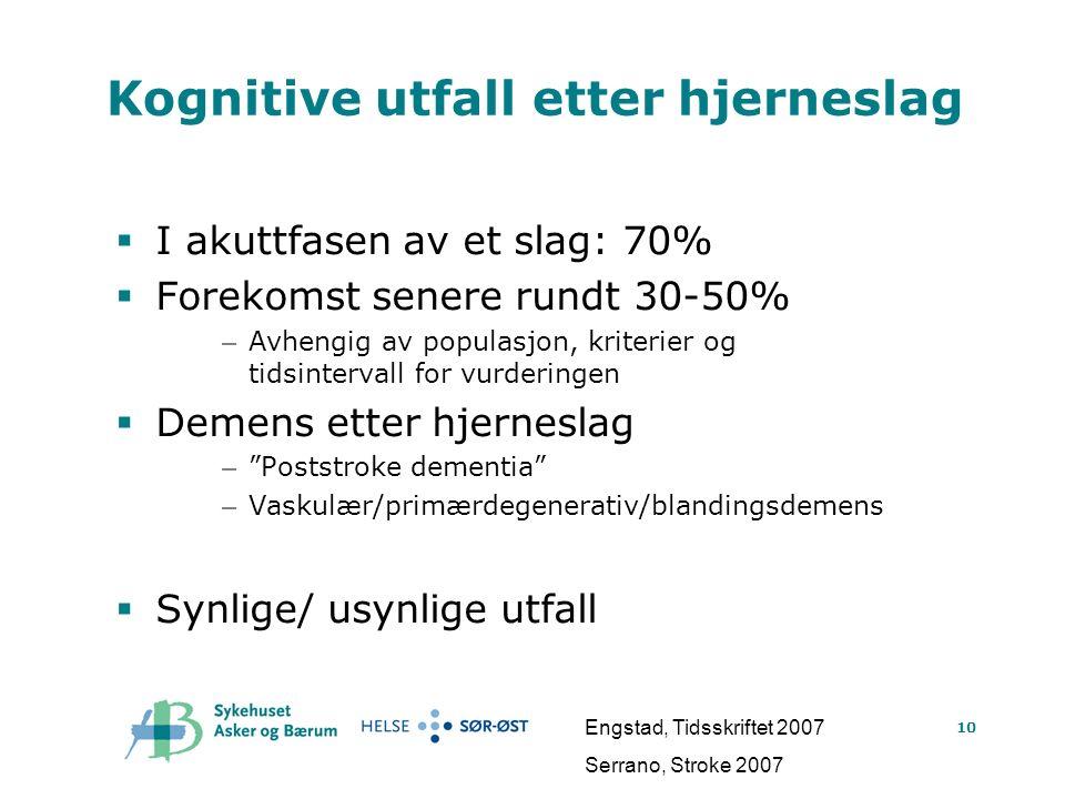 10 Kognitive utfalletter hjerneslag  I akuttfasen av et slag: 70%  Forekomst senere rundt 30-50% – Avhengig av populasjon, kriterier og tidsinterval