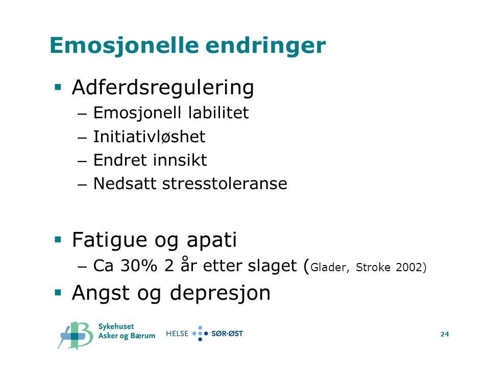 24 Emosjonelle endringer  Adferdsregulering – Emosjonell labilitet – Initiativløshet – Endret innsikt – Nedsatt stresstoleranse  Fatigue og apati – Ca 30% 2 år etter slaget ( Glader, Stroke 2002)  Angst og depresjon