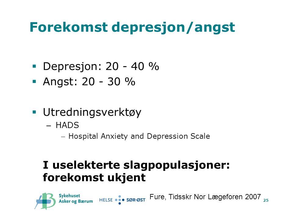 25 Forekomst depresjon/angst  Depresjon: 20 - 40 %  Angst: 20 - 30 %  Utredningsverktøy – HADS – Hospital Anxiety and Depression Scale I uselekterte slagpopulasjoner: forekomst ukjent Fure, Tidsskr Nor Lægeforen 2007