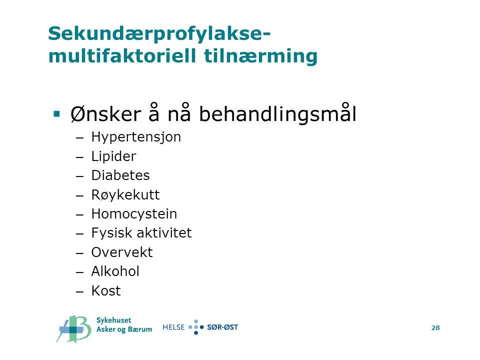 28 Sekundærprofylakse- multifaktoriell tilnærming  Ønsker å nå behandlingsmål – Hypertensjon – Lipider – Diabetes – Røykekutt – Homocystein – Fysisk aktivitet – Overvekt – Alkohol – Kost