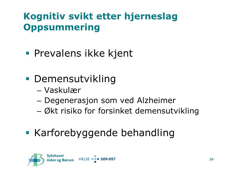 29 Kognitiv svikt etter hjerneslag Oppsummering  Prevalens ikke kjent  Demensutvikling – Vaskulær – Degenerasjon som ved Alzheimer – Økt risiko for forsinket demensutvikling  Karforebyggende behandling