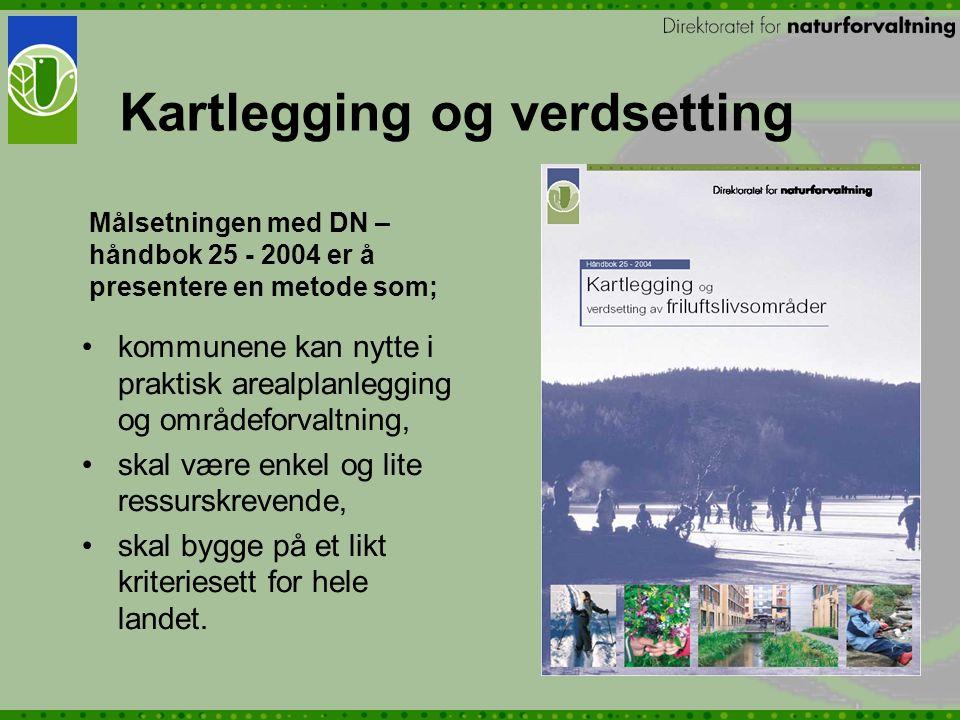 Målsetningen med DN – håndbok 25 - 2004 er å presentere en metode som; kommunene kan nytte i praktisk arealplanlegging og områdeforvaltning, skal være enkel og lite ressurskrevende, skal bygge på et likt kriteriesett for hele landet.