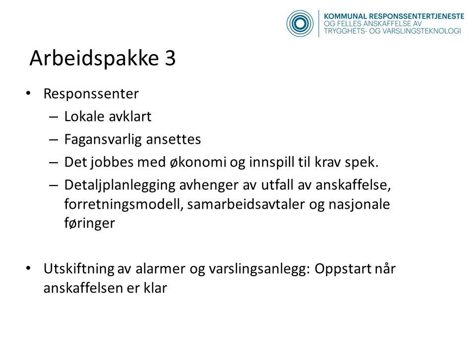 Arbeidspakke 3 Responssenter – Lokale avklart – Fagansvarlig ansettes – Det jobbes med økonomi og innspill til krav spek.