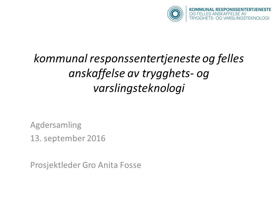 kommunal responssentertjeneste og felles anskaffelse av trygghets- og varslingsteknologi Agdersamling 13.