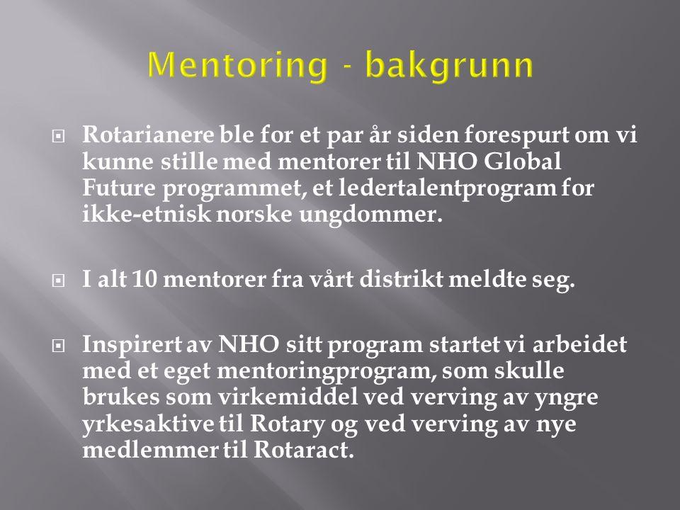  Rotarianere ble for et par år siden forespurt om vi kunne stille med mentorer til NHO Global Future programmet, et ledertalentprogram for ikke-etnis